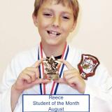 Student of the month Reece (August 2014)